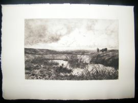 Edmond Yon 1885 Etching. Near the Coast at Cayeux-Sur-Mer, France